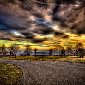HDR Sunset by Daniel Tompkins - Landscapes Prairies, Meadows & Fields ( photomatix, hdr, chemtrail, landscape, photo, photoshop )