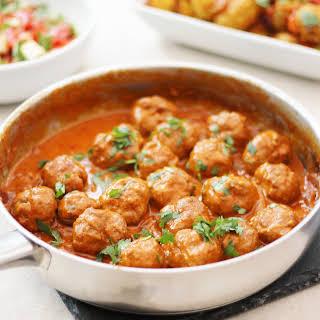 Turkey Tikka Masala Meatballs with Bombay New Potatoes.