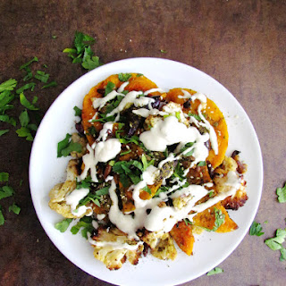Roasted Butternut Squash And Cauliflower With Tahini.