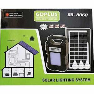 Kit solar GD8060 cu lanterna LED, 3 becuri, panou si USB