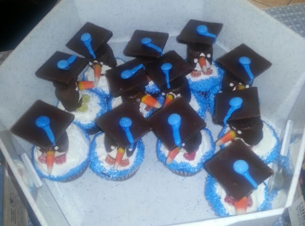 Graduation caps:  On a large tray put the 24 of the peanut butter...