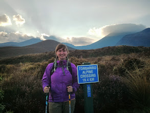 Photo: At the start of our 6.5 hour hike over the Tongariro Alpine Crossing, billed as NZ's best one day hike.  Mt Tongariro's on the left, the one on the right hiding behind a cloud is Mt  Doom!