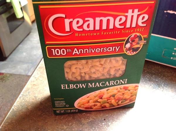 I used creamettes macaroni for this recipe, and cooked it to the firm stage...