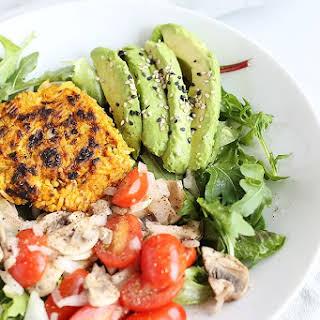 Healthy Curry Burger Salad Bowl.