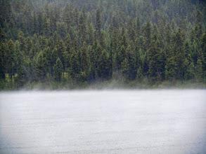 Photo: Rain-induced mist above the lake