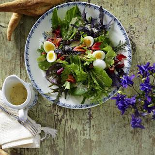 Swiss Chard Salad with Quails Eggs.