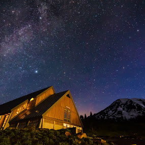Mt. Rainier Visitor Center by Zach Blackwood - Landscapes Starscapes ( hills, washington, mountains, sunset, mt. rainier, tatoosh range )