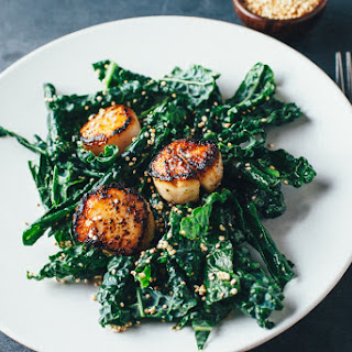 Kale Salad with Miso Vinaigrette and Scallops