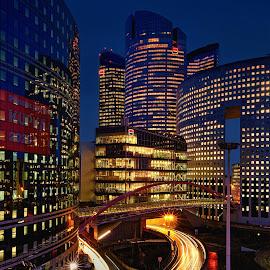 La Défense Paris by Michaela Firešová - City,  Street & Park  Night ( paris, city, night, lights )