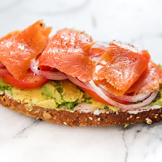Avocado Toast With Smoked Salmon, Goat Cheese, and Capers.