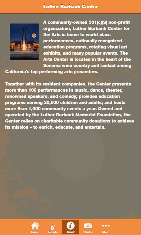 Luther Burbank Center- screenshot