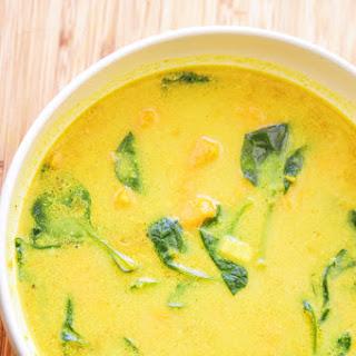 Sweet Potato & Spinach Coconut Milk Soup (Gluten Free, Vegan).