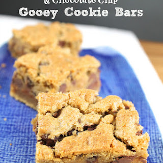 Peanut Butter, Caramel & Chocolate Chip Gooey Cookie Bars.