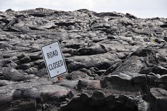 Photo: Lava closes road.