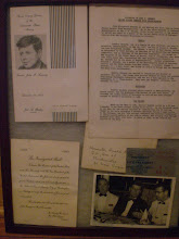 Photo: Invitation to a dinner my father organized at JFK's request, prior to his run for President (upper left / took place in San Juan Puerto Rico). Upper right is a typed biography of JFK up to the late 1950's .