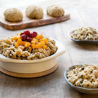 Gluten-free Vegan Teff Stuffing with Roasted Butternut Squash and Candied Cranberries.