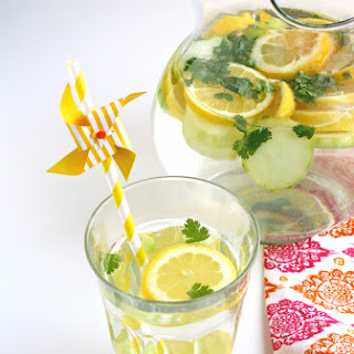 Lemon, Cucumber & Cilantro Infused Water