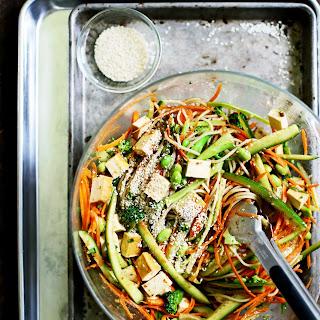 Cold Sesame Brown Rice Noodle Salad.
