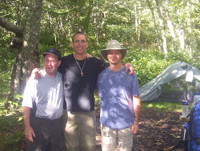 Photo: Dan, Craig and Israel after hiking their first eleven miles. Amazing what extreme exercise can do to a man's body. No, just kidding. These are two gentlemen we met at the first shelter. Bryan and Paul. They turned out to be Believers so we had a wonderful time of fellowship with them.