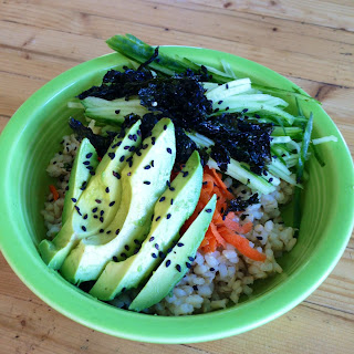 Sushi Bowls with Garlic Ginger Dressing