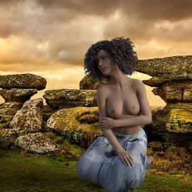 Kneeling before the storm by Charlie Alolkoy - Digital Art People ( nude, 3d, woman )