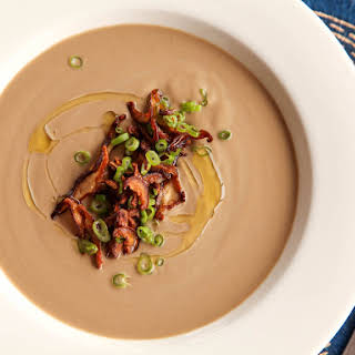 Vegan Cream of Mushroom Soup With Crispy Shiitake Chips.