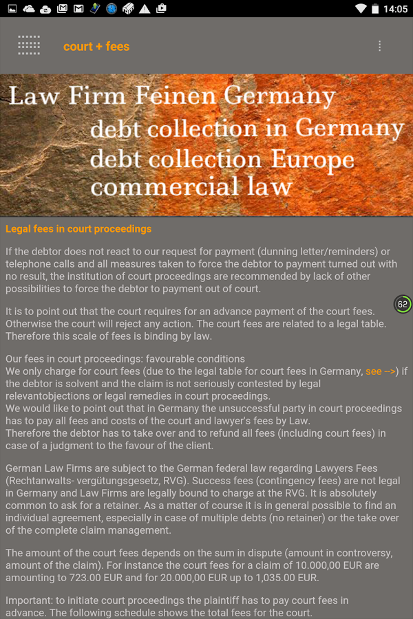 Debt collection Germany – Screenshot