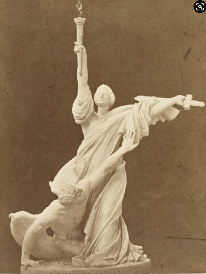 Société Royale Belge de Photographie Statue, La lumière, épreuve sur papier albuminé, Musée d'Orsay, Parijs