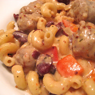 Pasta with Sausage, Red Beans and Mustard