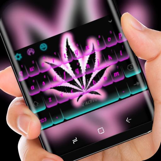Marijuana Keyboard Neon Purple Weed Theme