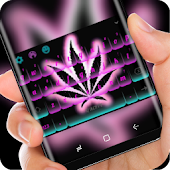 Marijuana Keyboard Neon Purple Weed Theme