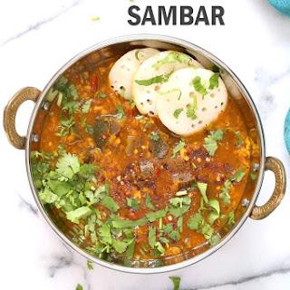 Eggplant Sambar Recipe - Indian Yellow Lentil Tamarind Dal.