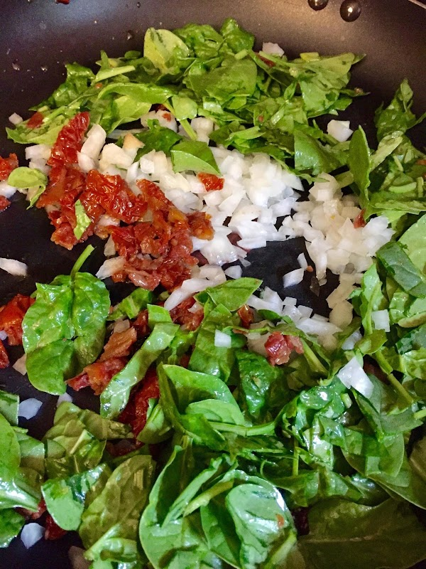Prepare veggies. Chop sun dried tomatoes, onions, Brocolli, mushrooms and spinach. Combine with chopped...