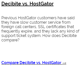 Decibite vs HostGator