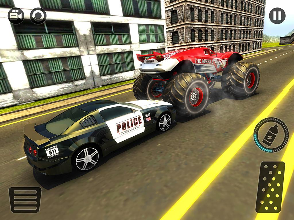 Car Chase Games: Police Chase Monster Car: City Cop Driver Escape