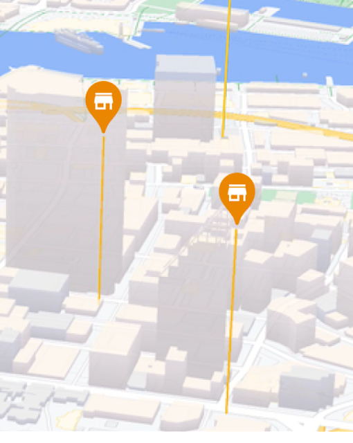 Map with retail stores marked by pins