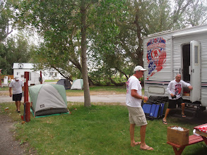 Photo: Day 19 Dubois to Riverton WY 79 miles 1410' climbing: Sudden wind storm disrupts camp site