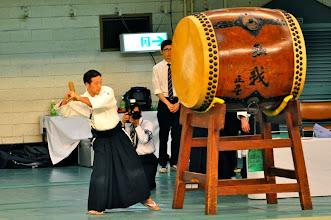 Photo: Suzuki Koujiro Sensei striking the Taiko.