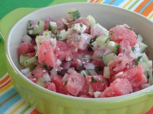 "Dog-Days Watermelon Salad ""We thought it was wonderful. Very refreshing. We actually..."