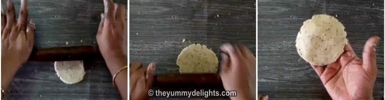 Roll to make verki puri.