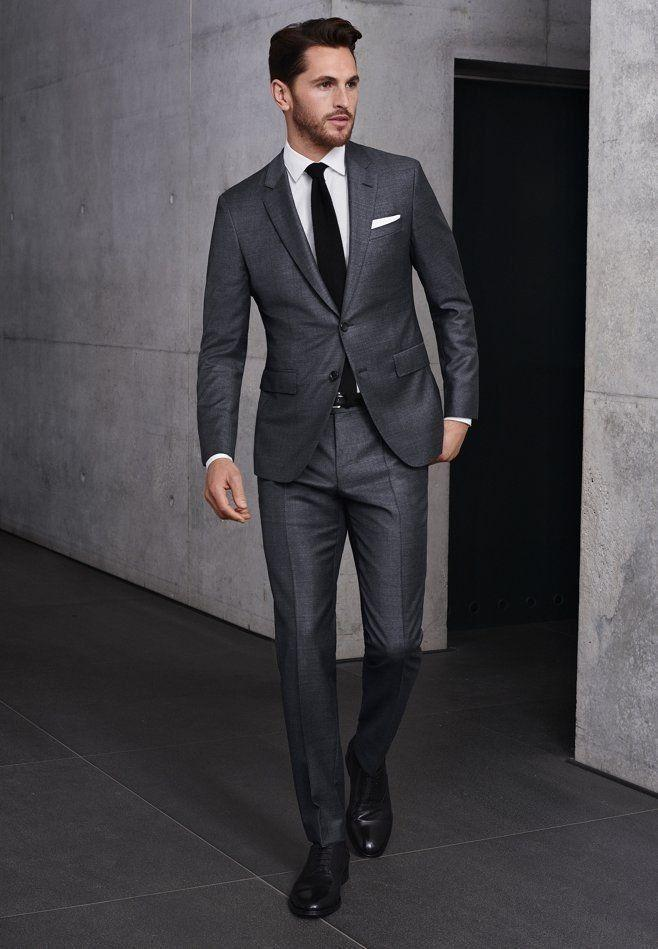 Custom Fashion Man's Charcoal Gray Suit Groom Tuxedos Casual Dinner Party  Suit | Charcoal gray suit, Party suits, Grey suit men