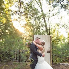 Bliss by Giselle Hammond - Wedding Bride & Groom ( bride, couple, groom, beauty, nature, golden hour, kissing, sunset, wedding )