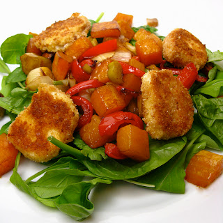 Roast Vegetable Salad with Fried Goat Cheese