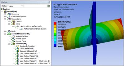 ANSYS Деформированная форма модели с соединением Fixed Joint между недеформируемым твёрдым телом и оболочкой