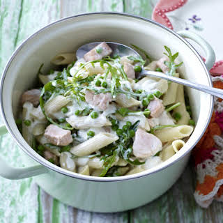 Penne with Salmon and Arugula.