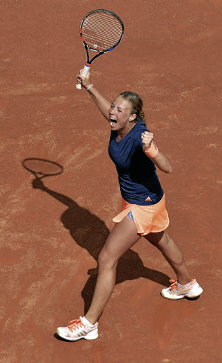 Feeling great: Estonia's Anett Kontaveit reacts during her match with top seed Angelique Kerber at the Rome Masters on Wednesday. Picture: REUTERS
