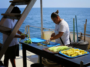 Photo: Our crew prepares a snack - fruit and vegetables with lime juice and spices.