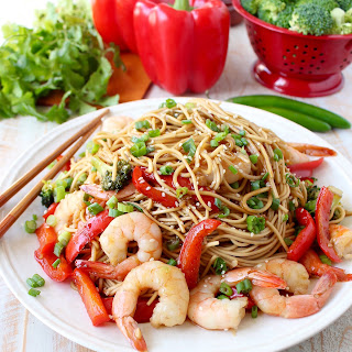 One Pot Teriyaki Shrimp Lo Mein Recipe