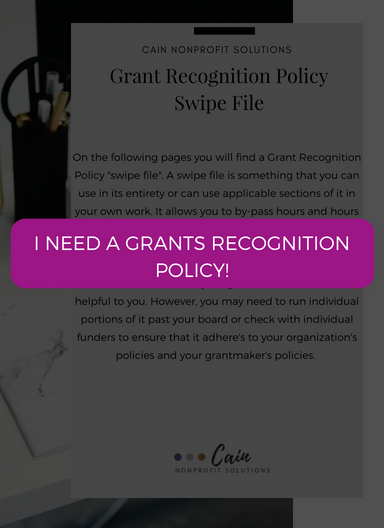 I need a grants recognition policy! Click here to get it.
