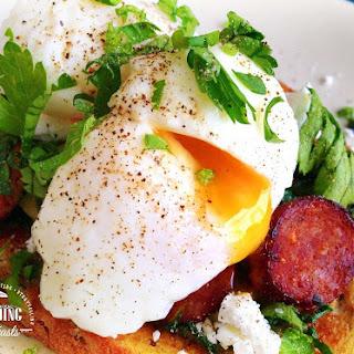 Poached Eggs & Chorizo w/ Mushrooms & Feta
